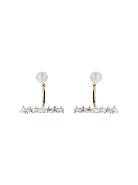 Mikey Pearl curved link crystal strip earring