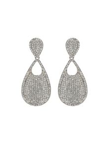 Mikey Twin Oval Crysral Disc Dangling Earring