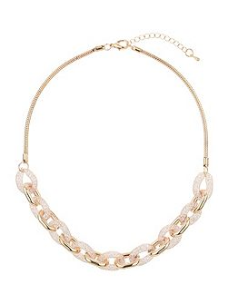 Crystal rope cover chain link necklace