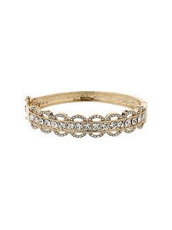 Oval design link crystal stripe cuff