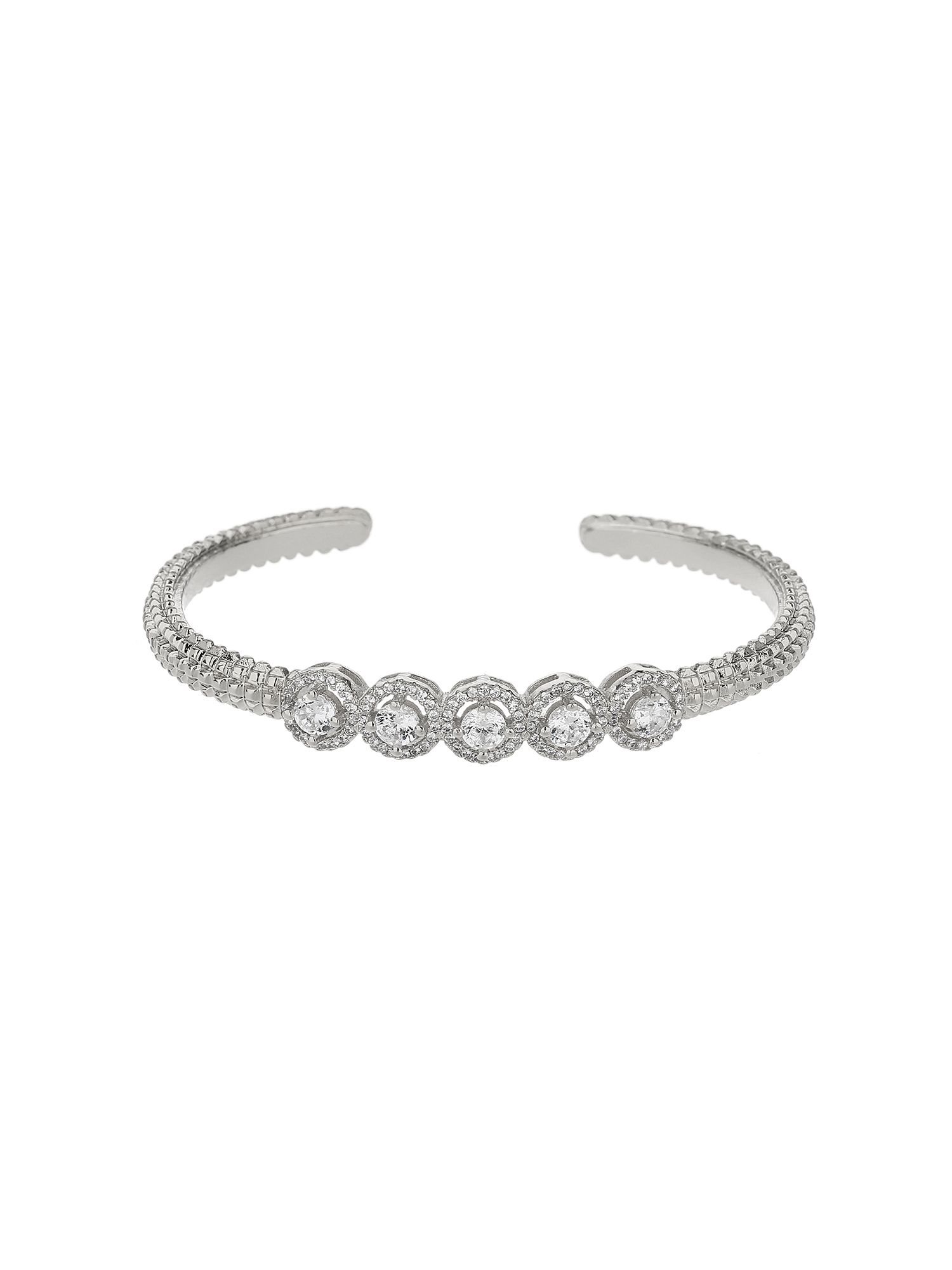 Mikey 5 round cubic buttons cuff bangle, N/A