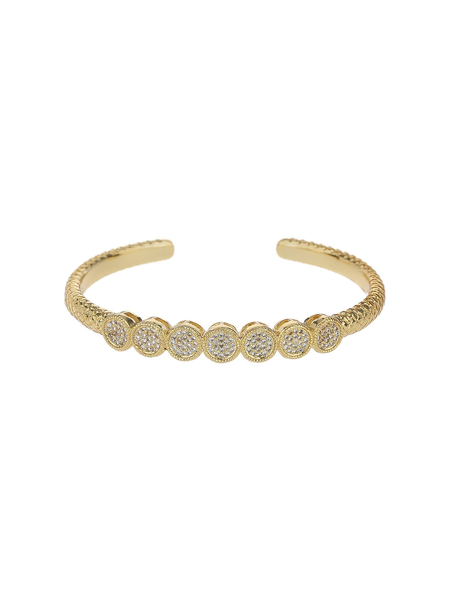 Mikey 7 round embed cubic buttons cuff bangle, N/A