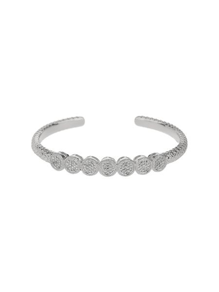 Mikey 7 round embed cubic buttons cuff bangle