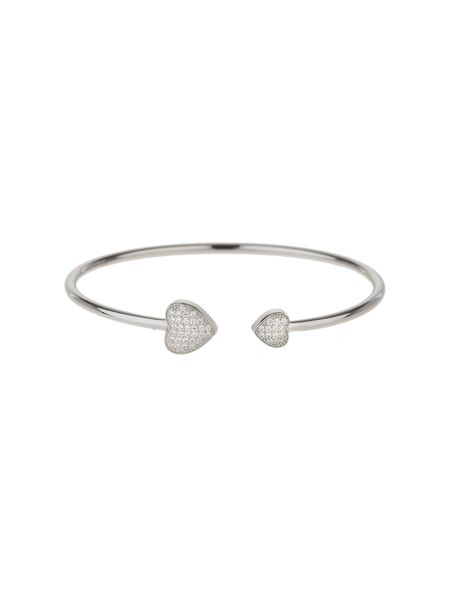 Mikey Sterling Silver 925 Twin Heart Bangle