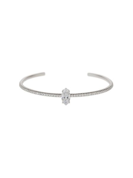 Mikey Sterling Silver 925 Oval Cubic Top Cuff