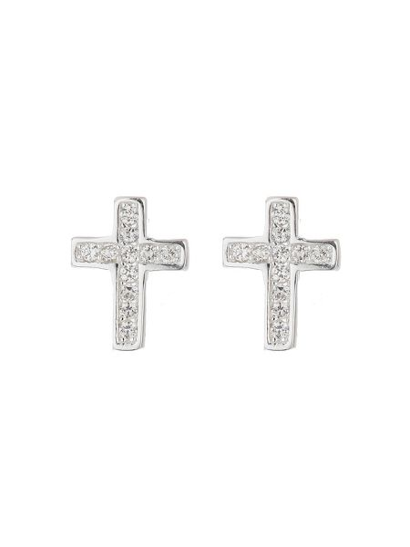 Mikey Sterling Silver 925 Cross Stud Earring