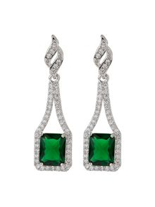 Mikey Edge Link Cubic Centre Drop Earring