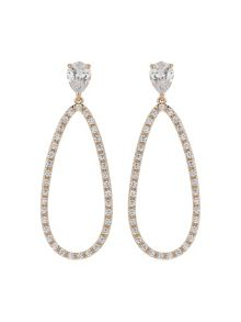Mikey Oval Design Cubic Filigree Back Earring