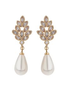 Mikey Leaf Cubic Design Pearl Drop Earring