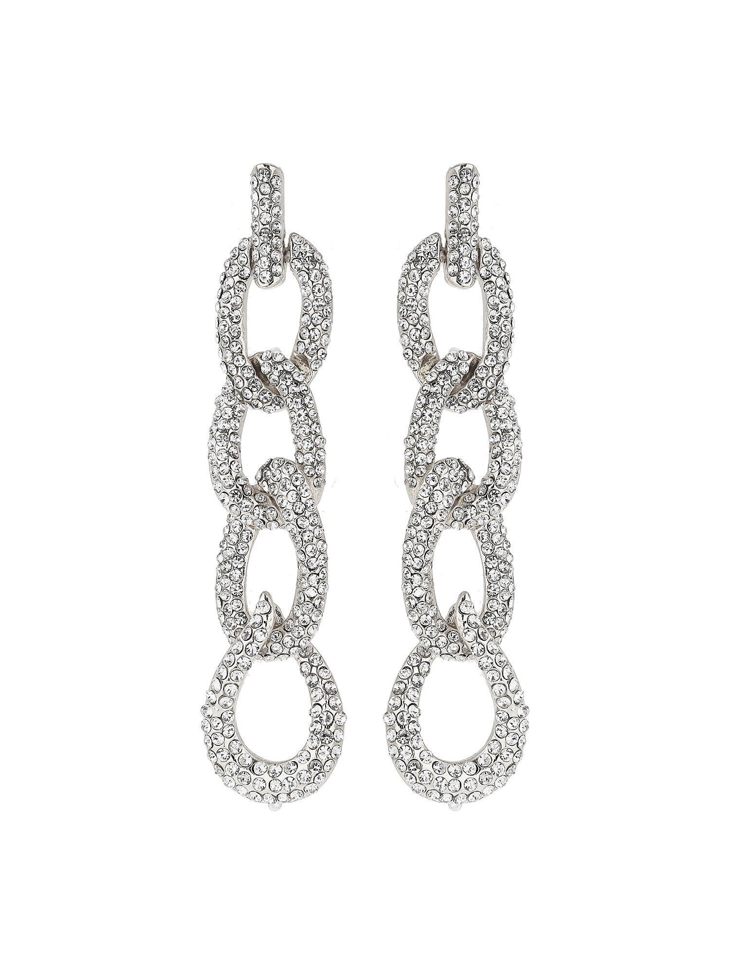 Mikey Cable Chain Crystal Embed Drop Earring, White