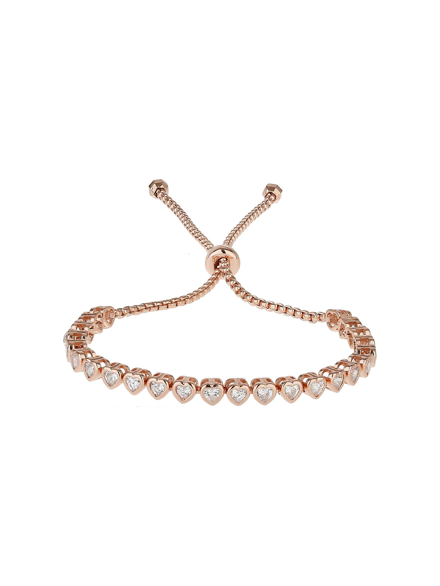 Mikey Cubic Heart Link Self Locking Bracelet Rose Gold