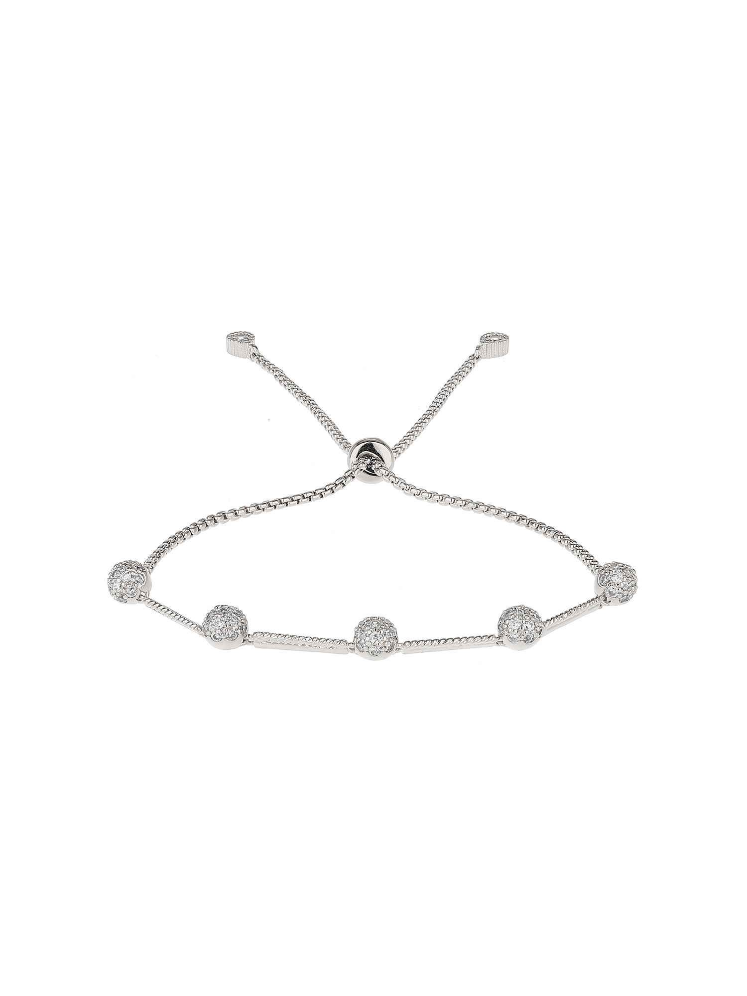Mikey Cubic Ball Heart Link Tieup Bracelet White