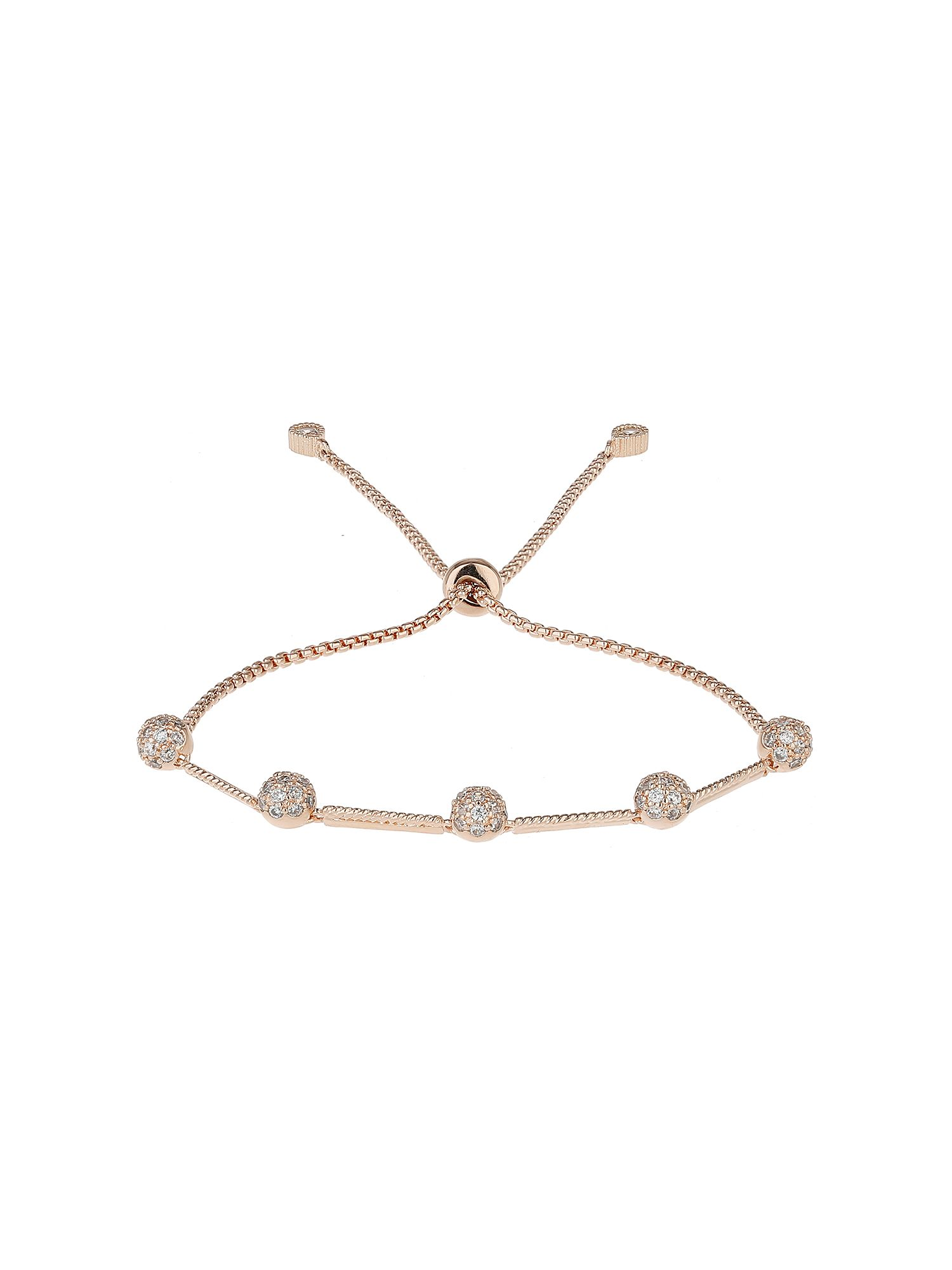 Mikey Cubic Ball Heart Link Tieup Bracelet Rose Gold