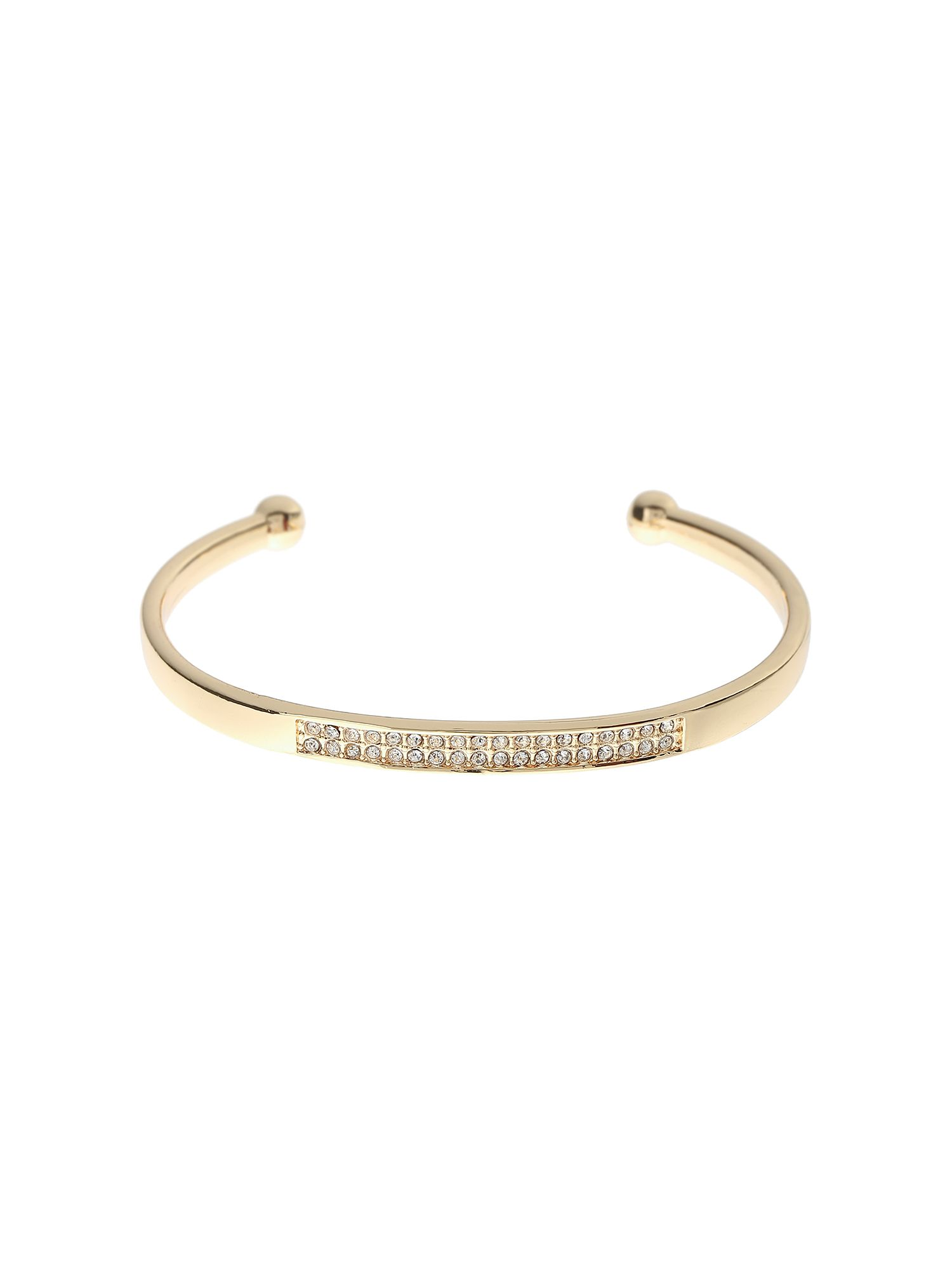 Click to view product details and reviews for Mikey Crystal Embed Open Cuffs Gold.