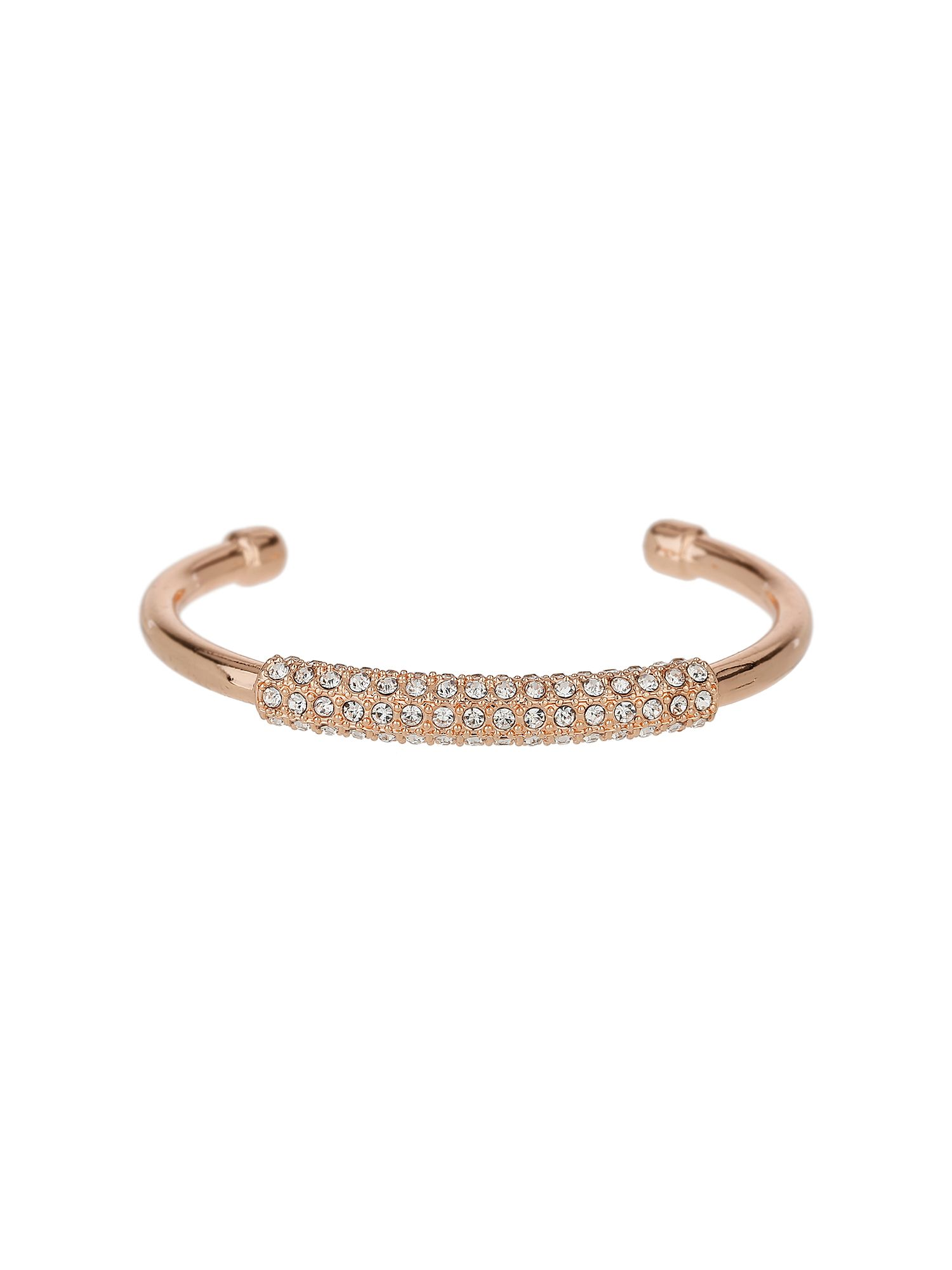 Click to view product details and reviews for Mikey Crystal Embed Cylinder Open Cuffs Rose Gold.