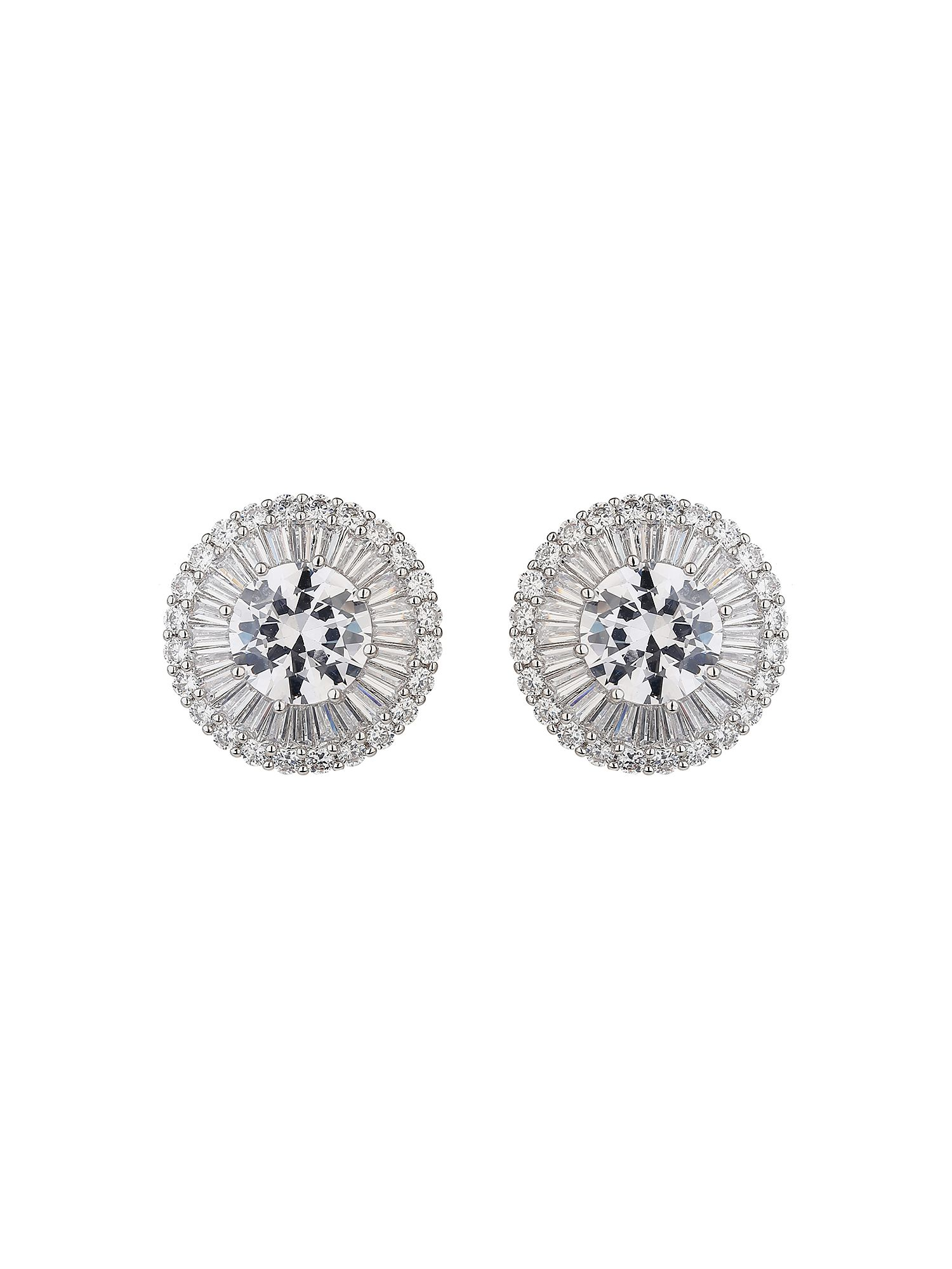 Mikey Centre Cubic Baugette Sun Rays Earring, White