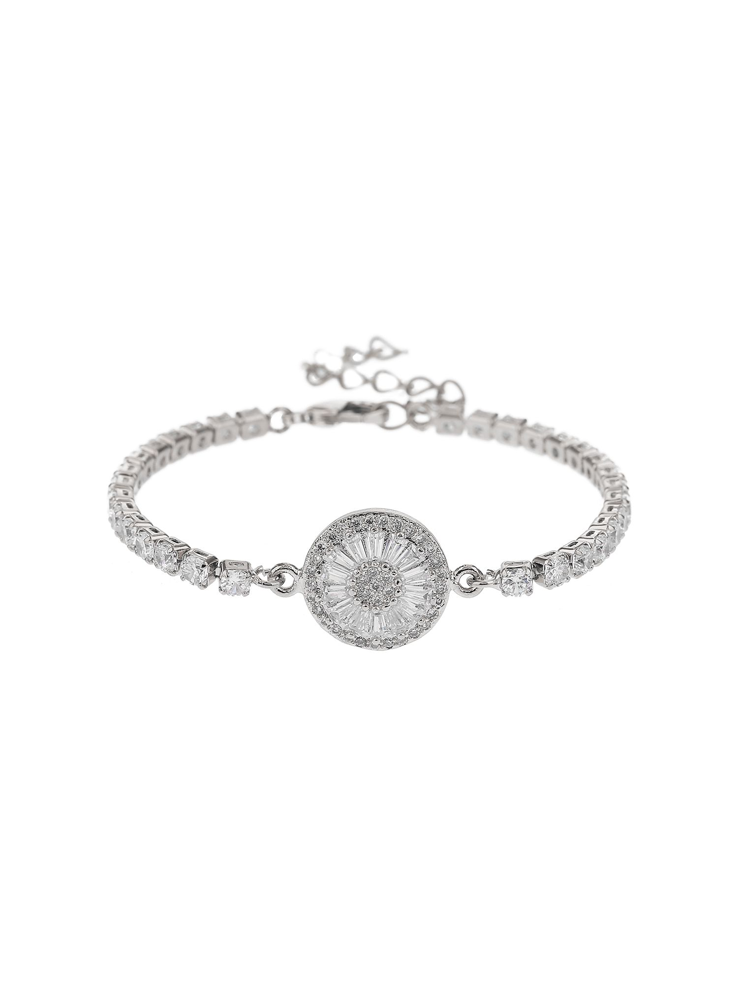 Mikey Baugette Disc Crystal Chain Bracelet, White