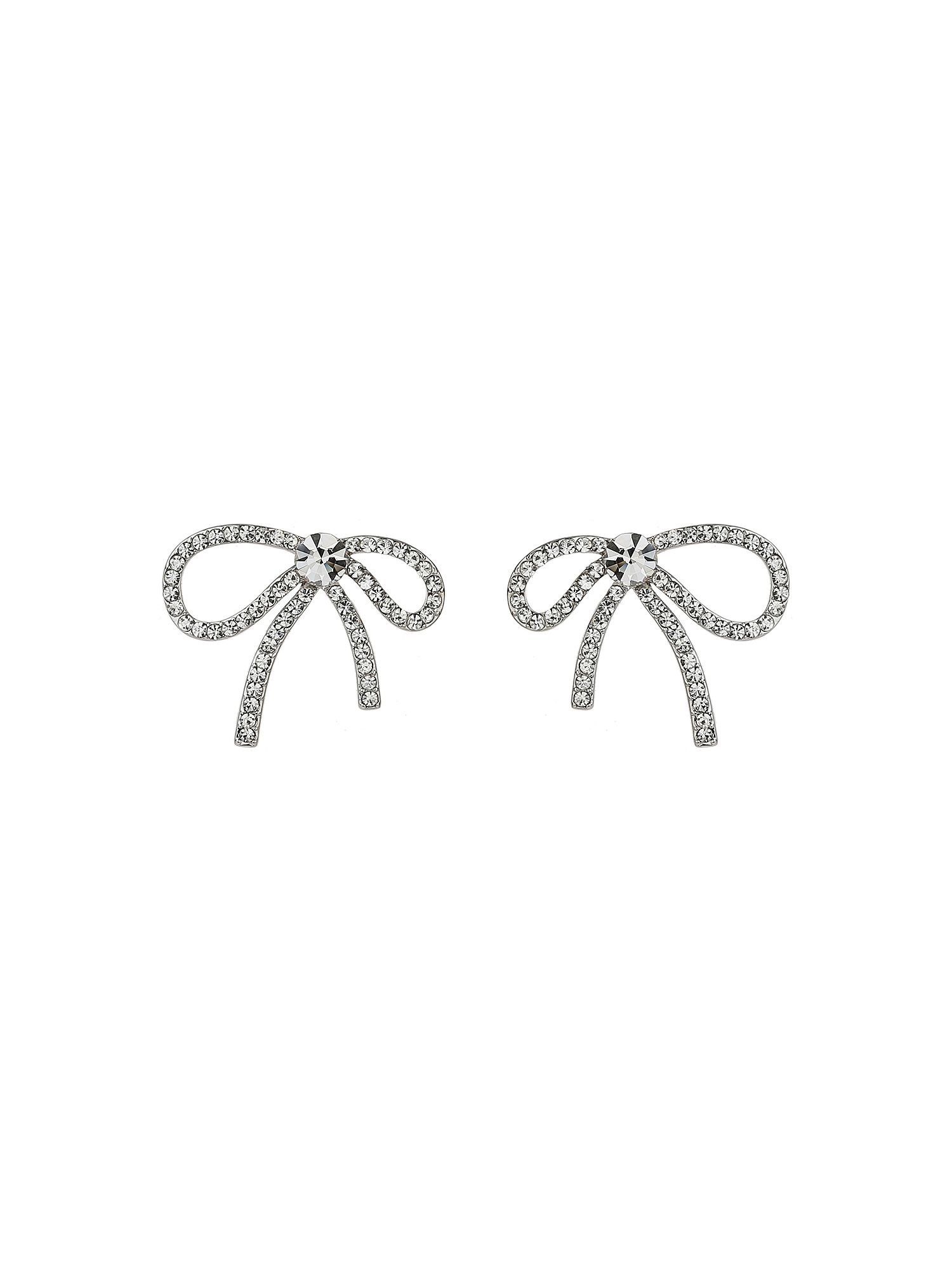 Mikey Bow Design Cubic Stone Stud Earring, White