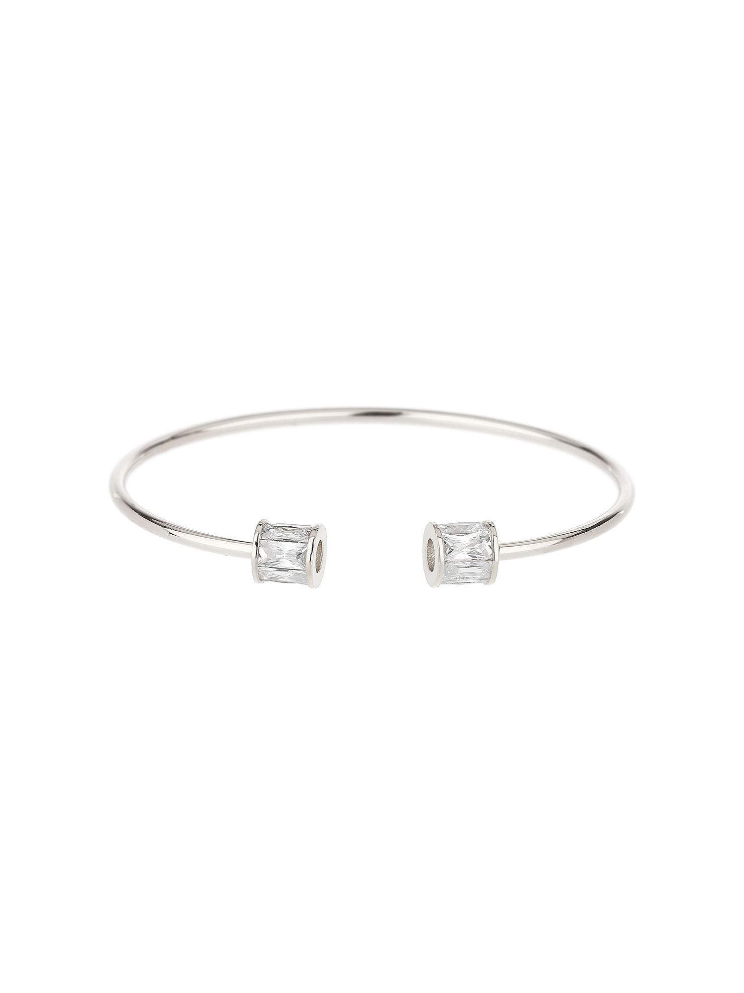 Mikey Baugette Bead End Cubic Cuff Bangle, White
