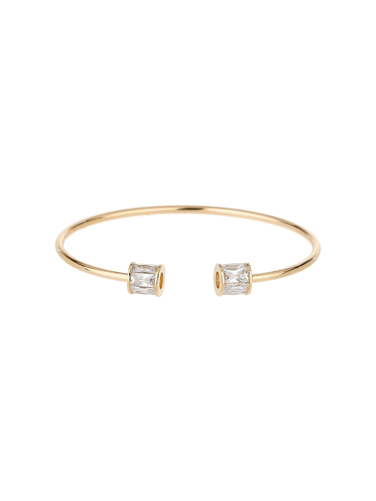 Mikey Baugette Bead End Cubic Cuff Bangle, Gold