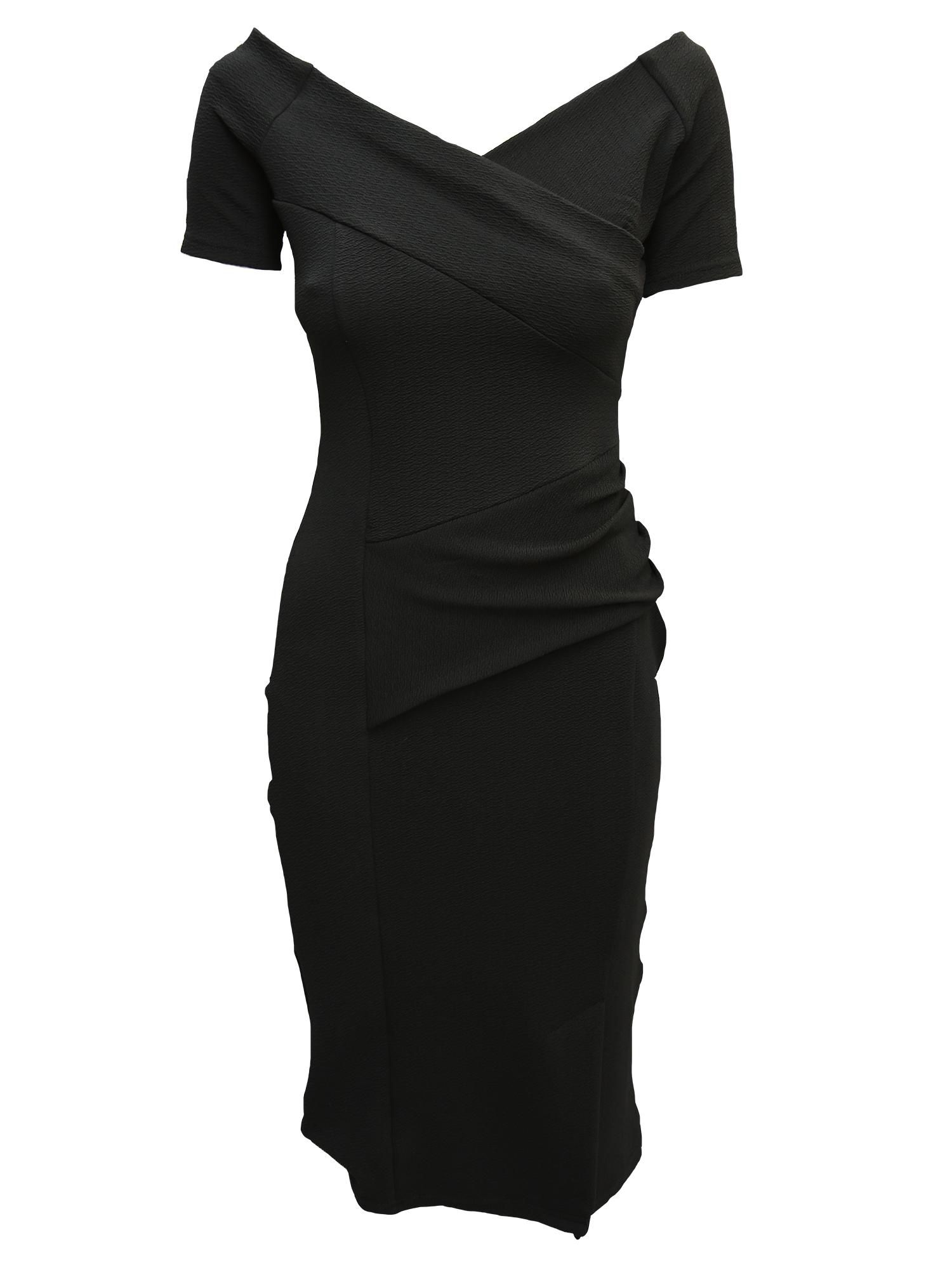 Feverfish Off Shoulder Dress, Black