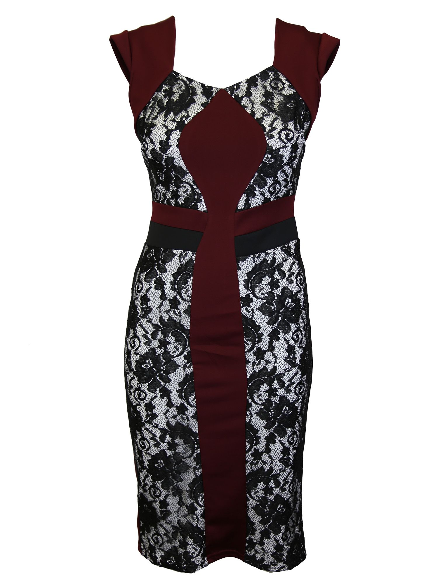 Feverfish Feverfish Lace Contrast Dress, Red