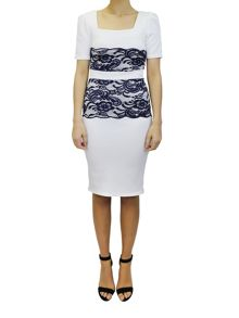 Feverfish Double Lace Scallop Dress