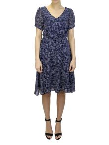 Feverfish Chiffon Heart Print Dress