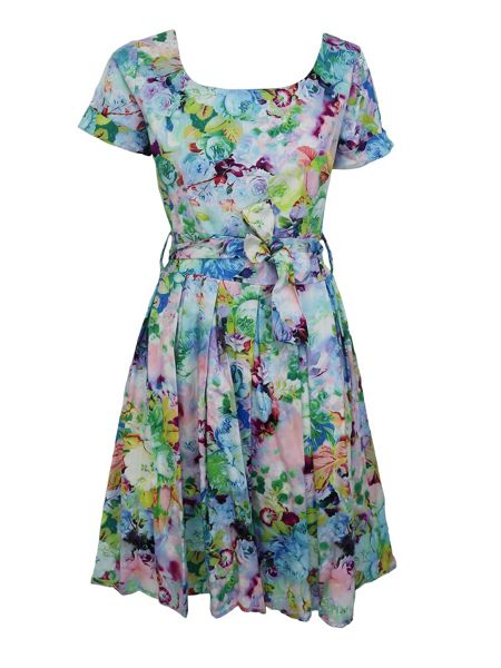 Feverfish Printed 50`s Cotton Flare Dress