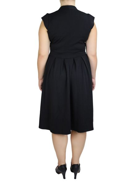 Feverfish Pleated Flared Ponte Dress