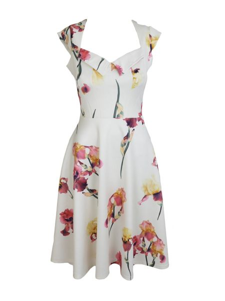 Feverfish Printed Flared Sweetheart Neck Dress