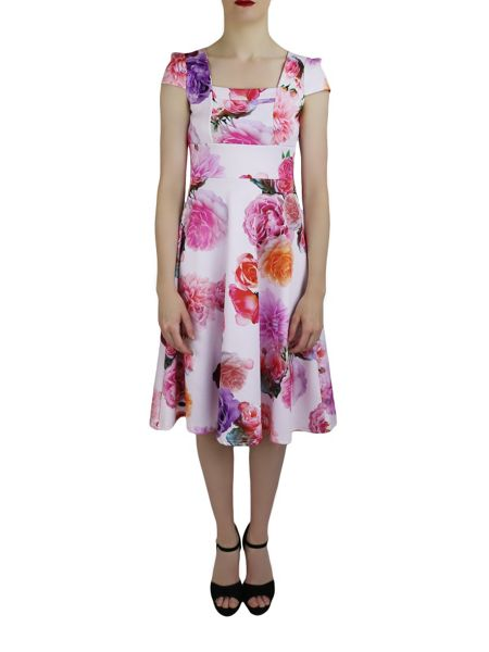 Feverfish Printed Waffle Flare Dress