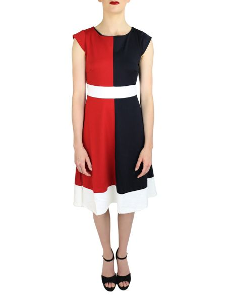 Feverfish Colour Block Skater Dress
