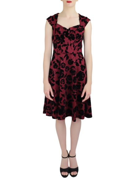 Feverfish Rose Print Flock Dress