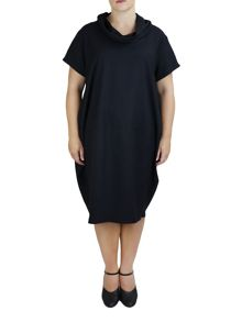 Feverfish Two Pocket Funnel Neck Dress