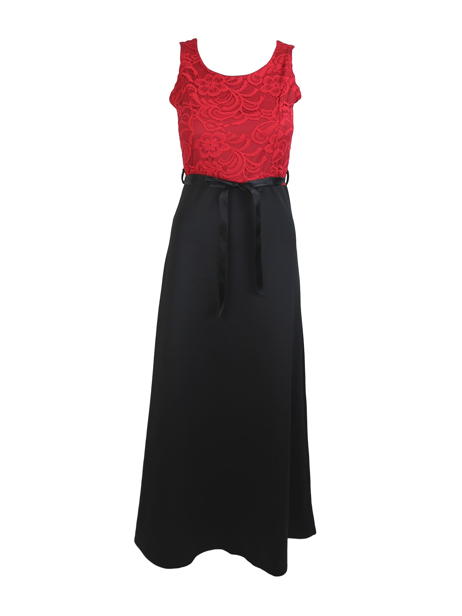 Feverfish Feverfish Lace Contrast Maxi Dress, Red