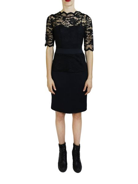 Feverfish Lace Scallop Scuba Dress
