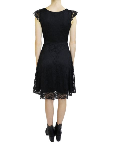 Feverfish Lace Frill Sleeve Skater Dress