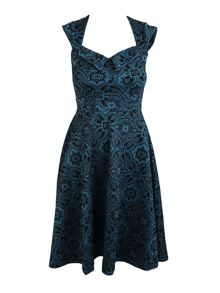Feverfish Vintage Baroque Print Flared Dress