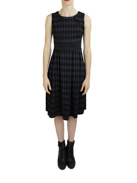 Feverfish Flared Pleated Checked Dress
