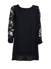 Feverfish Chiffon Lace Sleeve Tunic