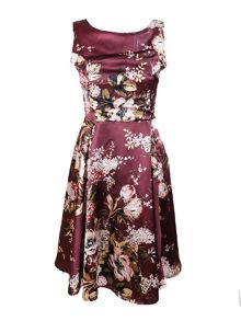 Feverfish Satin Print Flared Dress