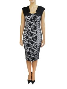 Feverfish Lace Spot Mesh Bodycon Dress