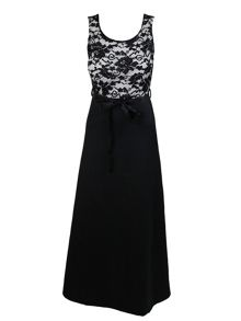 Feverfish Lace Contrast Maxi Satin Ribbon Dress