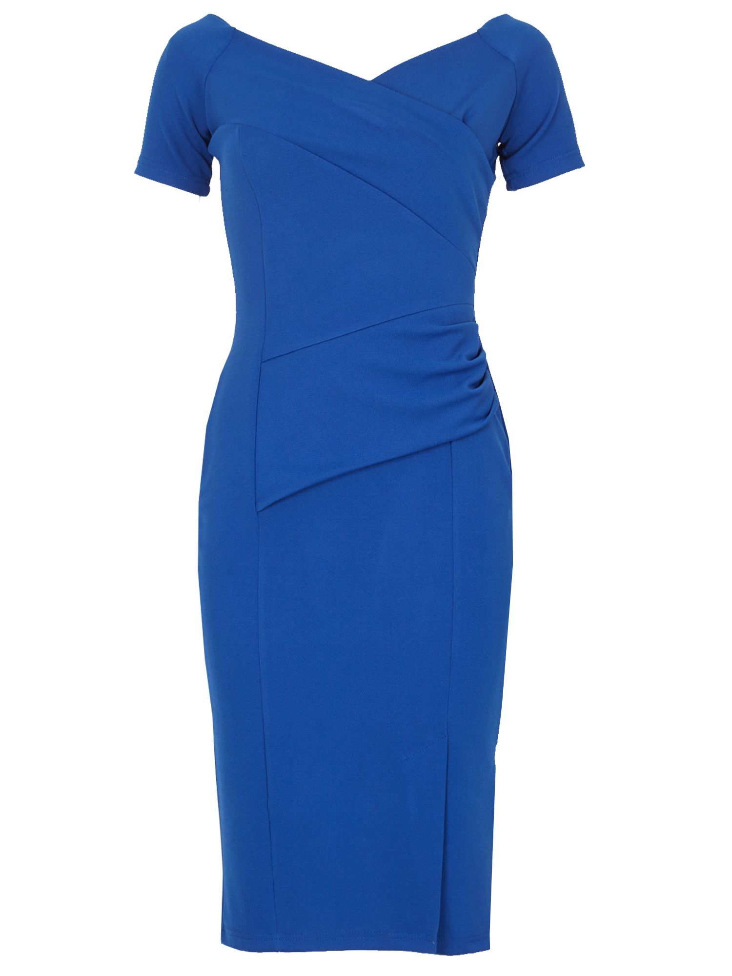 Feverfish Off Shoulder Barbara Dress, Blue