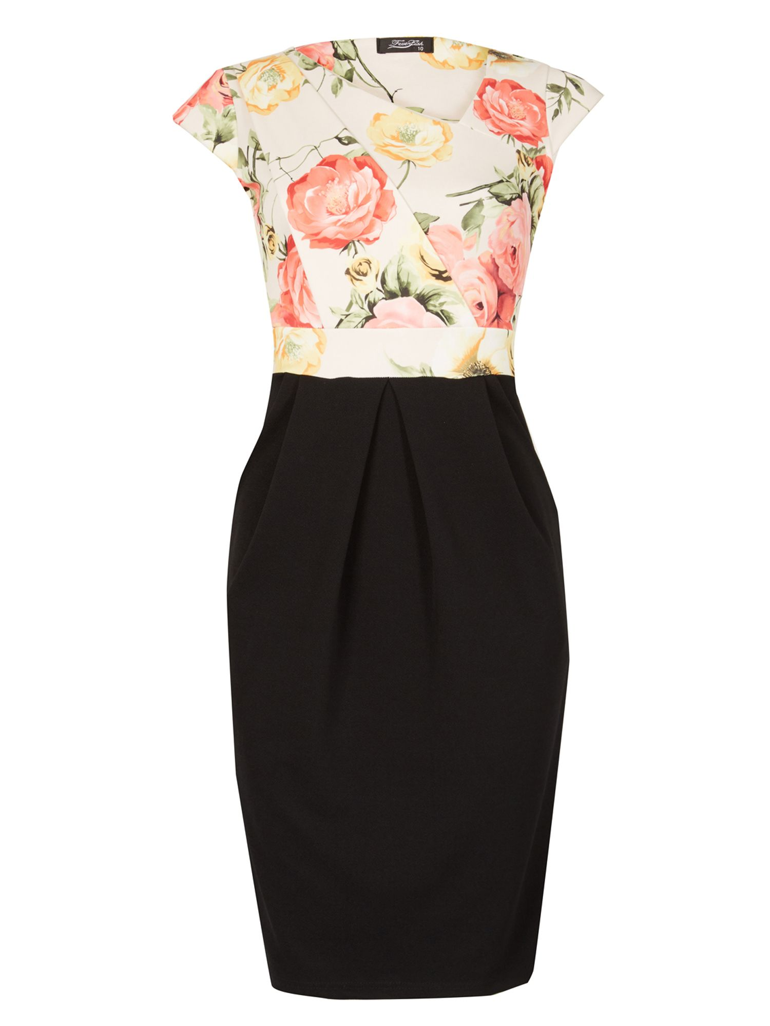 Feverfish Contrast Print Tulip Dress Black