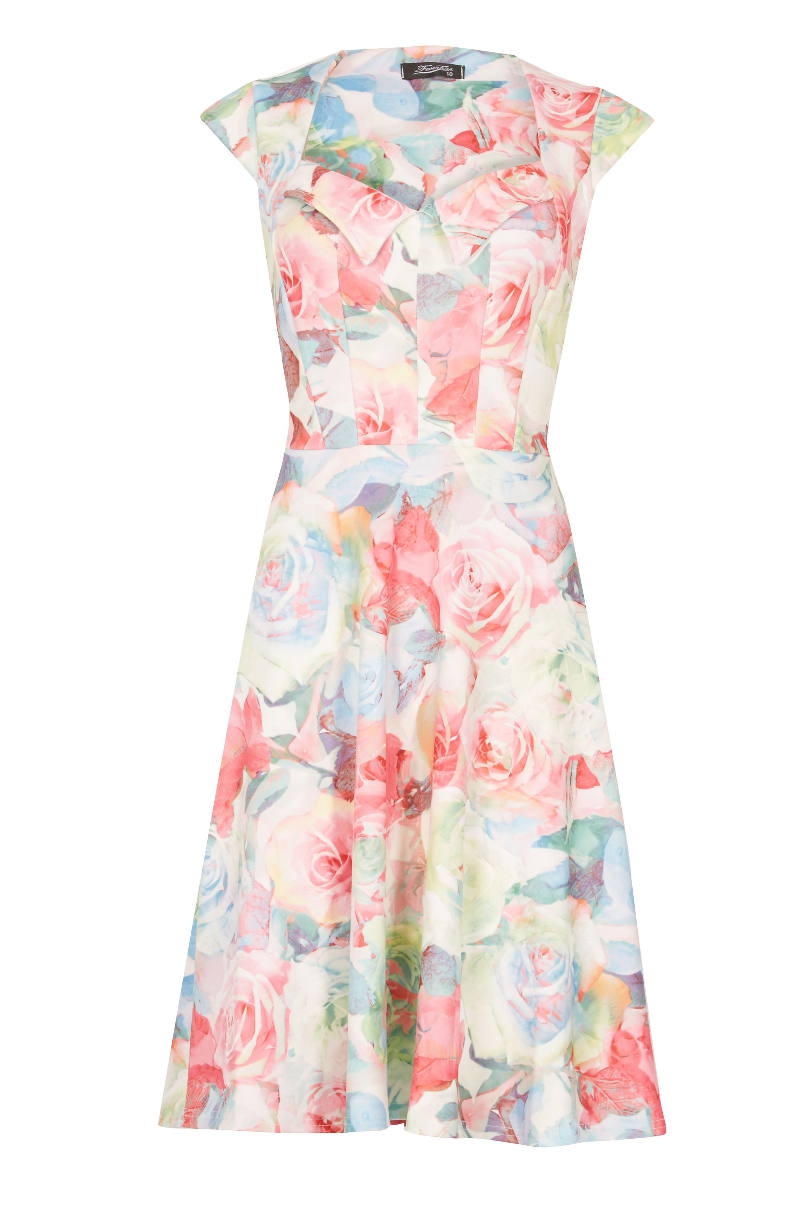 Feverfish Flower Print Flared Scuba Dress, Pink