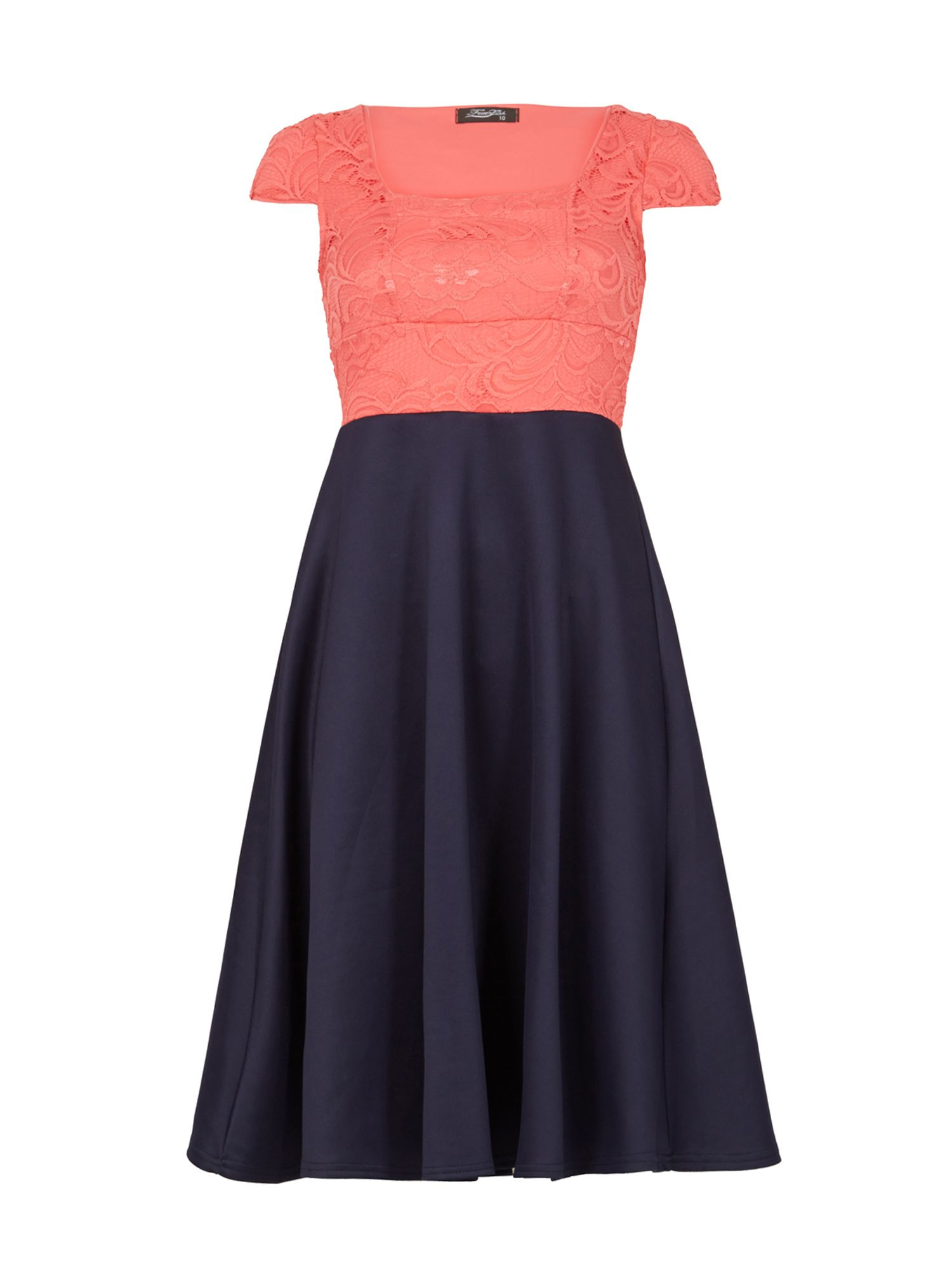 Feverfish Lace Contrast Skater Dress, Blue