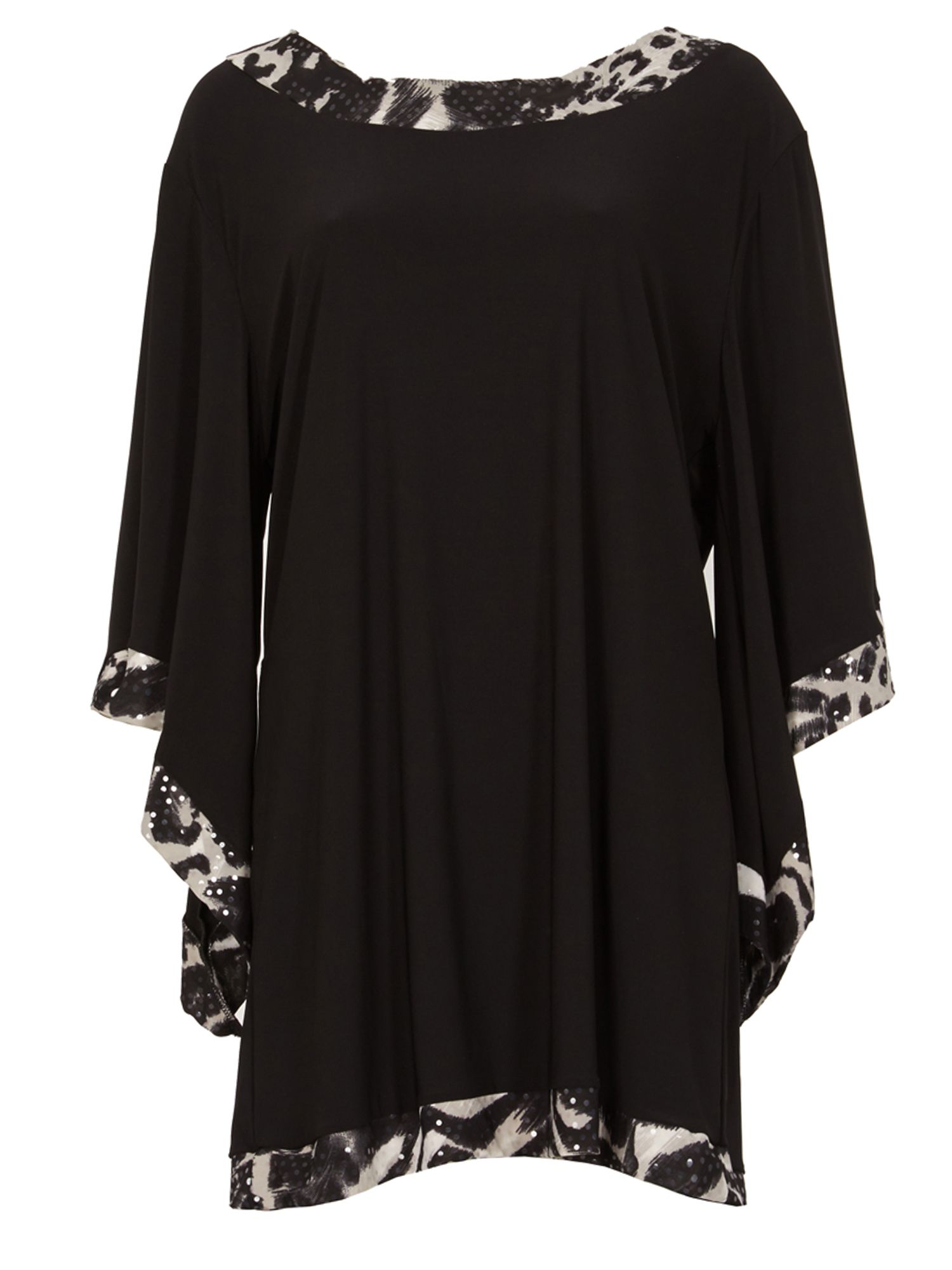 Feverfish Flared Sleeve Print Contrast Tunic, Black