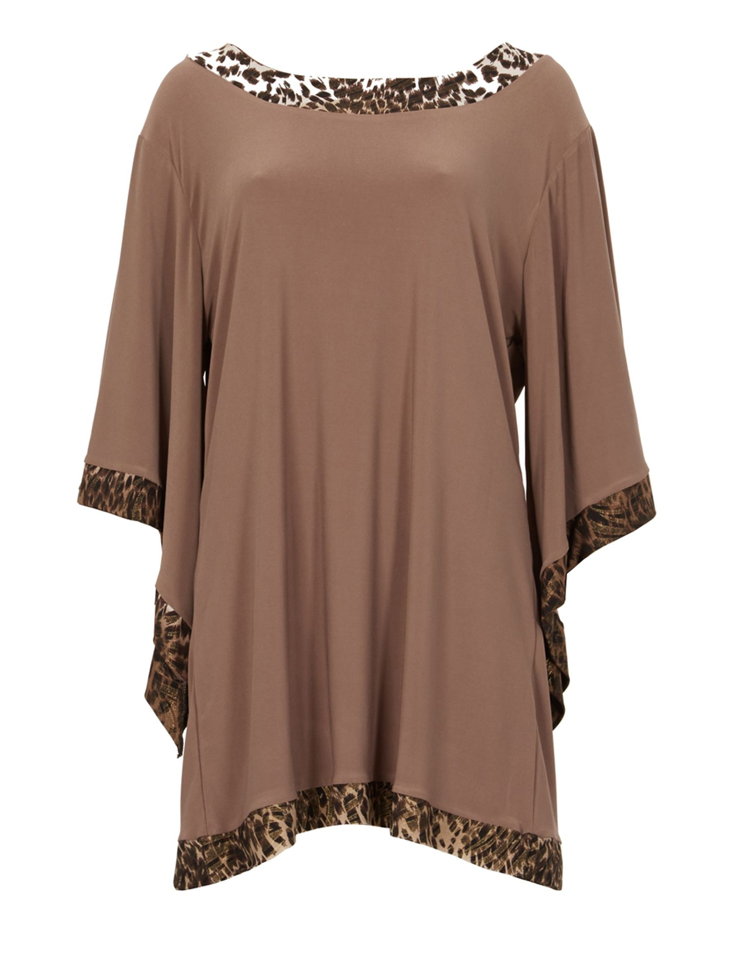 Feverfish Flared Sleeve Print Contrast Tunic, Brown
